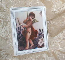 Shabby Wood Distressed Frame Chic Cherub Violet Print Paris French Cottage Decor