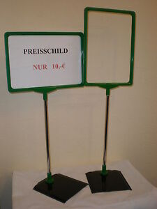 1 x Profi Preisschild Teleskop Preisaufsteller Werbeaufsteller DIN A4 grün