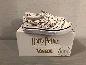Vans X Harry Potter Classic Slip On Mauraders Map Mischief Managed Sz 12Y, EUC