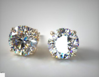 5Ct Round Moissanite Push Back Solitaire Stud Earrings 14K Yellow Gold Finish
