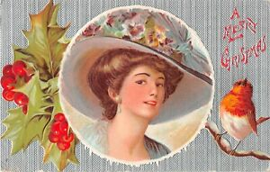 Robin & Beautiful Lady With Pansies on Big Hat-1909 Christmas PC-F. Earl Christy
