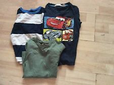 H&M, AGE 2-4 YEARS, 2 X LONG SLEEVE T-SHIRTS, GREEN/BLUE, 1 X BLUE CARS T-SHIRT,