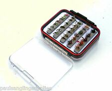Clearview Double Fly  Fishing box + 50 assorted flies trout/game fishing flys