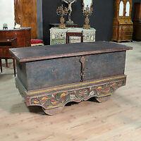 Baule cassapanca indiana in legno scolpito dipinto stile antico 900 XX panca