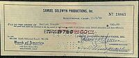 MARLON BRANDO RARE ORIG. 1955 (!) PAYROLL CHECK FROM SAMUEL GOLDWYN PRODUCTIONS!