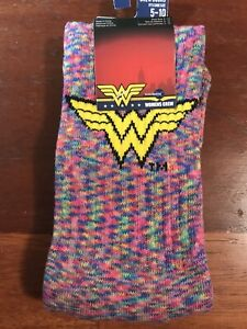 DC COMICS WONDER WOMAN 1984 RAINBOW MARLED CREW SOCKS NIP /W Tags