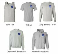 NASA T shirts Sweatshirt Tan Top Hooded Gray Left chest