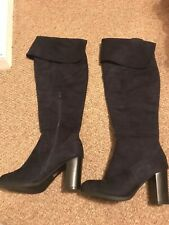 Womens Glossy Navy Suede Effect Knee High Boots - Size 6 -  Worn Twice