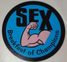 "2  Sex Breakfast of Champions  STICKERS 2.75""   MOTORBIKE HELMET IOM TT YAMAHA"