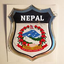 Autocollant Népal Emblème Armoiries Bouclier 3D en Résine Bombée Gel Autocollant Vinyle Voiture Moto