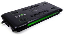 Plugable12 AC Outlet Surge Protector with Built-In 2-Port USB Charger 25ft