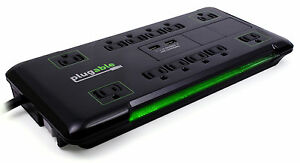 Plugable Surge Protector Power Strip w/ USB, 12 AC Outlets, 25ft Extension Cord