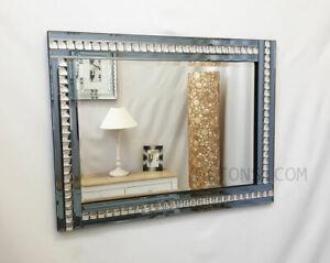 Modern Art Deco Acrylic Crystal Glass Bevelled Wall Mirror 60x80cm Smoked Grey