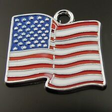 Rhodium Plated Blue Red White Stars Stripes Flag Enamel Pendant Charms 20pcs