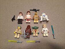 LEGO lot of 8 Star Wars Good Guy Minifigs Yoda Luke Leia Han R2-D2 Chewie P364