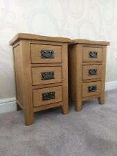 MATCHING PAIR RUSTIC OAK NARROW BEDSIDE TABLES / CABINETS - BEDROOM DRAWERS