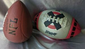 NERF FOOTBALL LOT. RARE RECALL NFL RED,BLACK,SILVER NERF & A BROWN NFL VARIATION