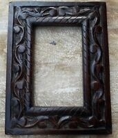 Vintage Old Collectible Wood Photo Frame Hand Carved Picture Frame Indian Art