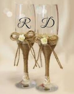 2 x Letters / Initials Vinyl Decal Stickers for Wine/Champagne Flute/Glass