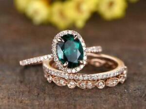 3Ct Oval Cut Green Emerald Halo Engagement Trio Ring Set 14K Rose Gold Finish