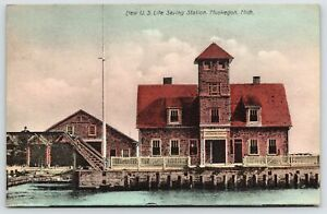 Muskegon MI~Handcolored~Man on Lookout Bridge~New Life-Saving Station 1908 PC