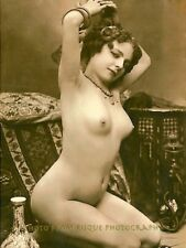 """Vintage Nude Woman Arms Up 8.5x11"""" Photo Print French Postcard Naked Female Art"""