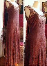 1920s flapper lace silk dress vintage antique brown gatsby formal gown 20s