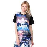 adidas Originals Women's Mountain Clash Print Trefoil Logo T Shirt (B Grade)