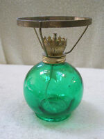 Vintage Kerosene Lamp Base Round Green Glass Mini