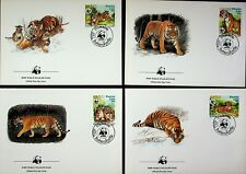 LAOS 1984 WWF WILD ANIMALS: TIGER 4v USED ON 4 ILLUSTRATED OFFICIAL FDCs