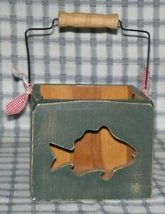 Shabby Chic Rustic Primitive Green Luminaire Candle Box