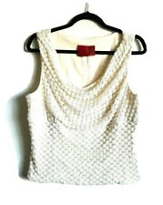 JS Collections Elegant Beaded Lined Formal Ecru Sexy Top Women's Blouse Size 16