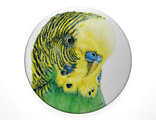 Green and Yellow Budgie pin badge, 7.7cm diameter. Budgerigar, parakeet