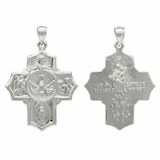 14k White Gold Holy Spirit Scapular Four Way Cross Charm Pendant 5.6 grams