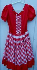 Vintage Women'S Red An White Party Short Sleeve Dress Size Large By Deloris