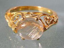 Gold plated brass everyday rutilated quartz stone ring UK M½/US 6.5