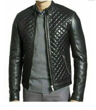 Classic Quilted Cafe Racer Motorcycle Biker Real Leather Jacket for Men fashion