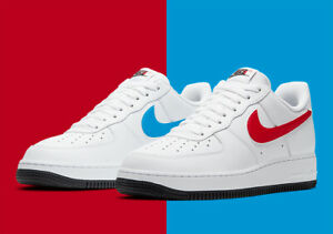 "Nike Air Force 1 ""Mismatched Swoosh"" White Red Blue CT2816-100 Men's Shoes NEW"
