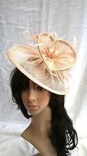 Nude (Beige) Sinamay & feather saucer disc fascinator,..Wedding.races..headband