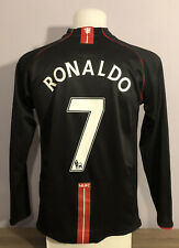 Manchester United Away Football Shirt 2007/08 RONALDO 7 Long Sleeved LS Medium M