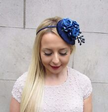 Navy Royal Blue Berry Flower Fascinator Teardrop Races Vtg Hair Headband 2646