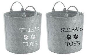 Personalised Name Storage Tub - Customised Toy Bag Basket Box Dog Cat Pets Paw