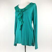 MATILDA JANE Womens Green Long Sleeve Ruffle Shirt Top Sz Medium
