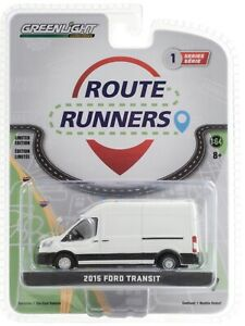 2020 NEW 1:64 GreenLight *ROUTE RUNNERS 1* 2019 Ford Transit Van PLAIN WHITE NIP