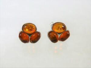 Bernstein Ohrringe 925 Sterlingsilber Farbe Cognac Damen Amber  BO554-M