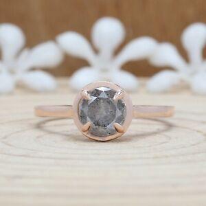 1.09 CT Salt And Pepper Ring, Round Diamond Ring, 14K Rose Gold Ring, KDN524