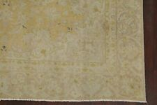Vintage Muted Floral Amber Gold Area Rug Distressed Oriental Wool Carpet 7'x11'