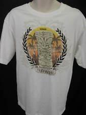 Speedo L Cotton Graphic Unisex T Shirt White Tiki Hawaiian Palm Trees