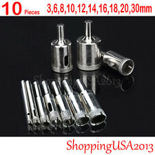 10 pcs 3-30mm Diamond coated tool drill bit set hole saw glass ceramic marble @