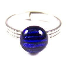 """Ring Adjustable Blue Sapphire Striped Patterned Dichroic Glass Dot Tiny 1/4"""" 7mm"""